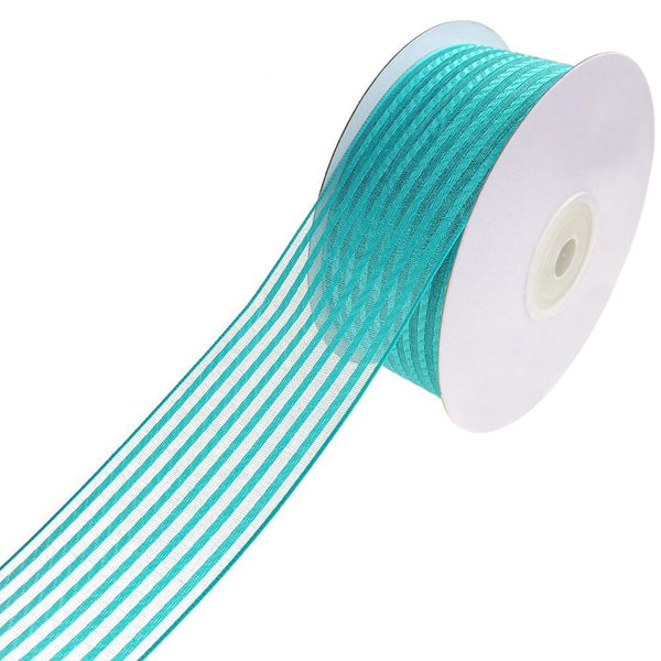 Woven Chic Striped Organza Ribbon, Tropical Blue, 1-1/2-Inch, 10-Yard