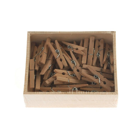 Mini Wooden Clothespins, 50-Count