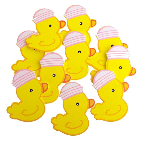 Medium Wooden Rubber Ducky with Hat, Pink, 3-1/4-inch, 10-Piece