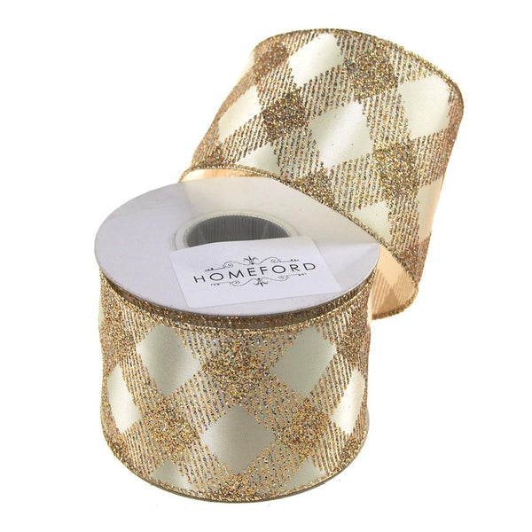 Diamond Glitter Christmas Satin Ribbon Wired Edge, 2-1/2-Inch, 10 Yards, Ivory