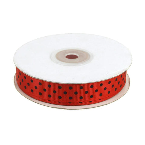 Lady Bug Grosgrain Ribbon, Red, 5/8-Inch, 25 Yards