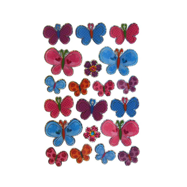 Floral Butterflies Plastic Pop Up Stickers, 20-count
