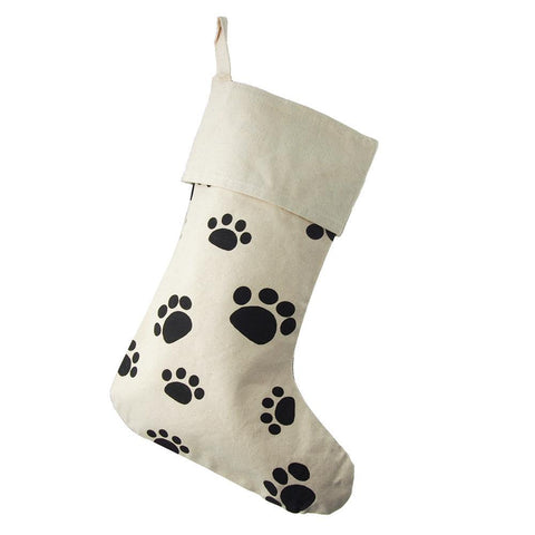 Animal Paw Print Cotton Christmas Stocking, Beige, 17-Inch