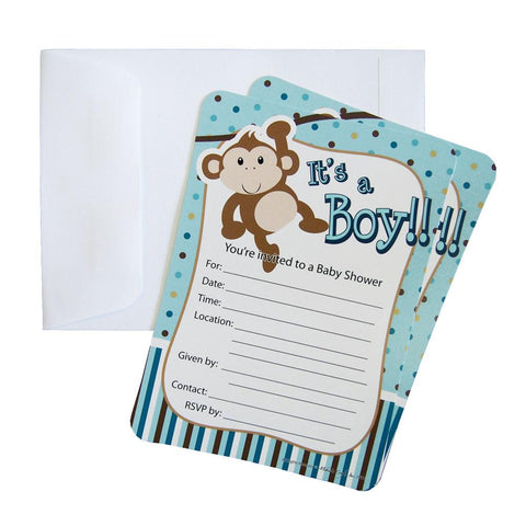 Baby Shower Invitations, 12-Piece, 7-Inches, Monkey Baby Boy, Light Blue
