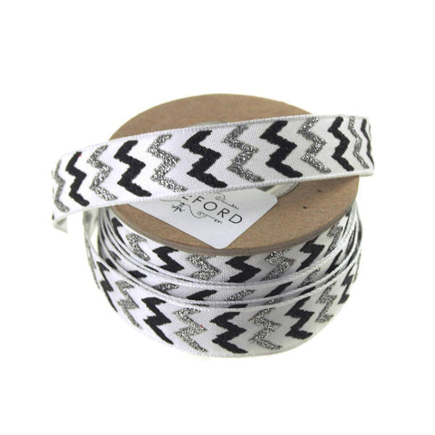 Glitter Chevron Holiday Christmas Satin Ribbon Wired Edge, 5/8-Inch, 9 Yards, Black