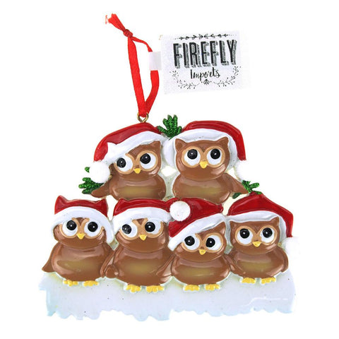 Winter Owl Family Ceramic Ornaments, White/Brown, 5-Piece