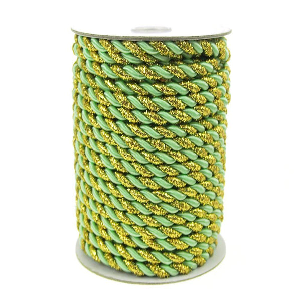 Gold Trim Twisted Cord Rope 2 Ply, 6mm, 25 Yards, Mint Green