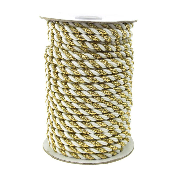 Gold Trim Twisted Cord Rope 2 Ply, 6mm, 25 Yards, White