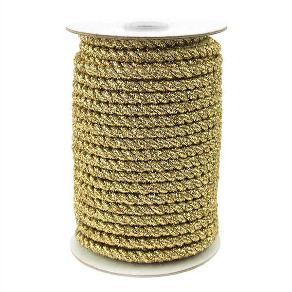 Twisted Cord Rope 2 Ply, 6mm, 25-yard, Gold Trim, Gold