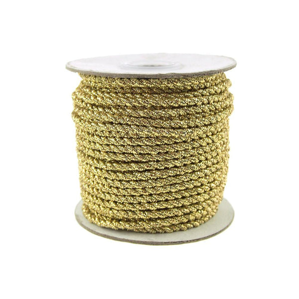 Twisted Cord Rope 2 Ply, 3mm, 25-yard, Gold Trim, Gold