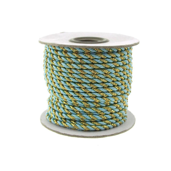Twisted Cord Rope 2 Ply, 3mm, 25-yard, Gold Trim, Light Blue