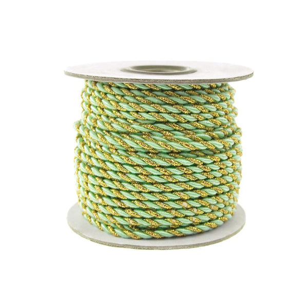 Twisted Cord Rope 2 Ply, 3mm, 25-yard, Gold Trim, Mint Green