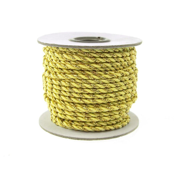 Twisted Cord Rope 2 Ply, 3mm, 25-yard, Gold Trim, Yellow