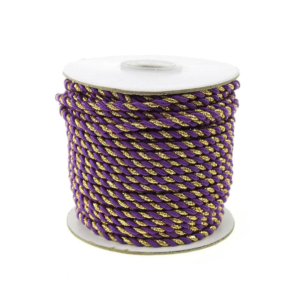 Twisted Cord Rope 2 Ply, 3mm, 25-yard, Gold Trim, Purple