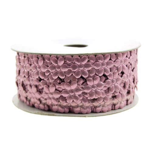 Polyester Flower Garland Ribbon, 3/8-Inch, 25-Yard, Metallic Mauve