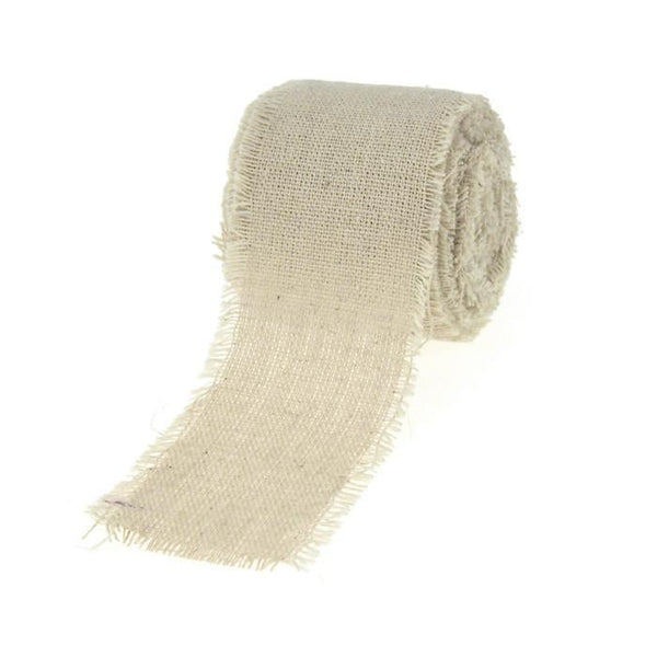 Natural Linen Ribbon Fringe Edge, 2-Inch, 5 Yards