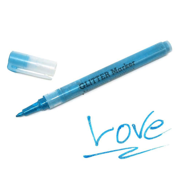 Sparkling Glitter Marker 0.7mm Fine Point, Blue, 5-Inch