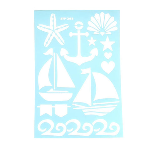 Nautical Ocean Multi-Media Stencil, 11-Inch