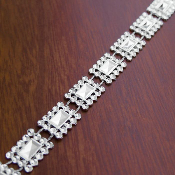 Square Diamond Rhinestone Banding Trim Strand, 16mm, 10-yard
