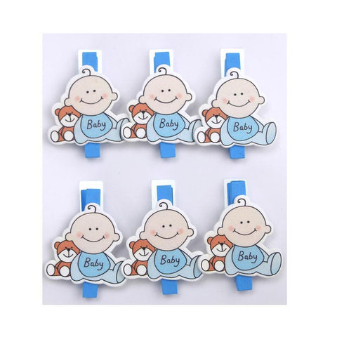 Cute Baby Wooden Clothespins Favors, 2-Inch, 6-Piece, Blue