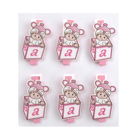 ABC Blocks Wooden Clothespins Baby Favors, 2-Inch, 6-Piece, Pink