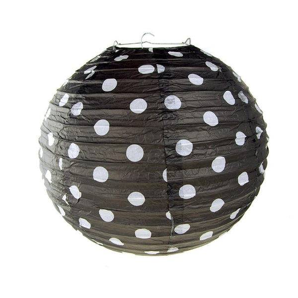 Polka Dot Hanging Paper Lanterns, Black, 12-Inch