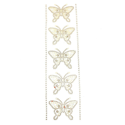 Self Adhesive Butterfly Rhinestone Stickers, 5-Count