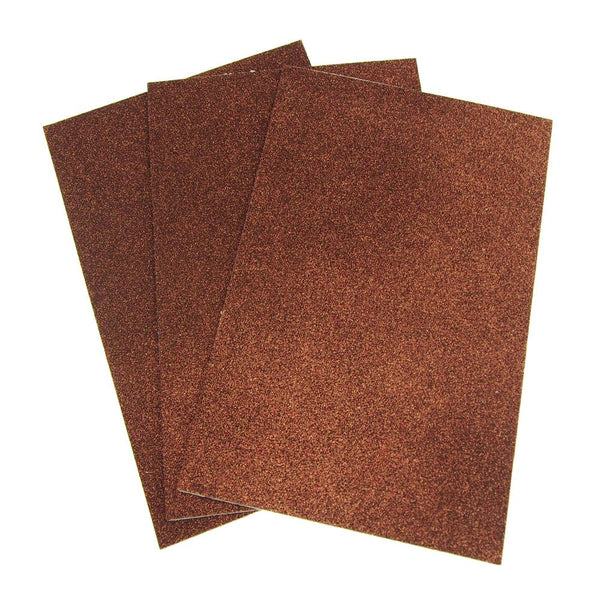 Self-Adhesive Glitter EVA Foam Sheet, 8-Inch x 12-Inch, 3-Count, Brown