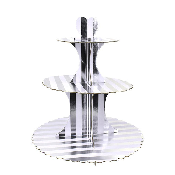 3-Tier Cardboard Cupcake Stand, Silver/White, 13-1/2-Inch