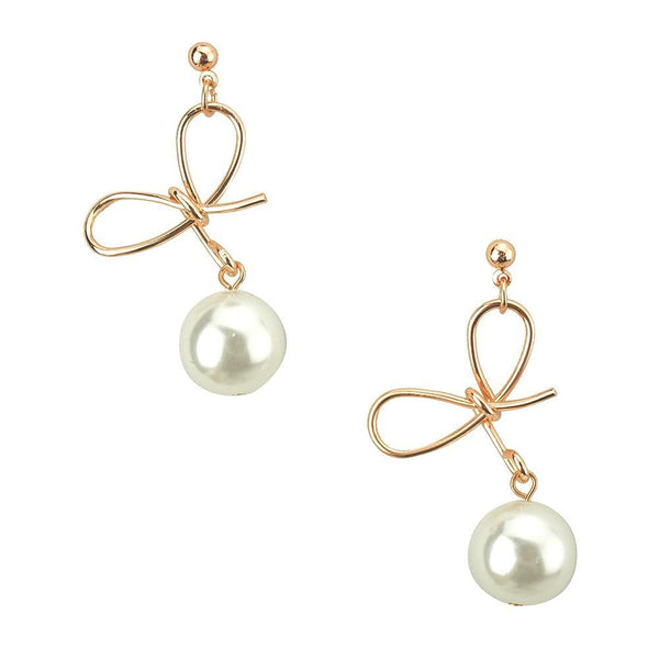 Pearl Bow Drop Earrings, Rose Gold, 1-1/2-Inch
