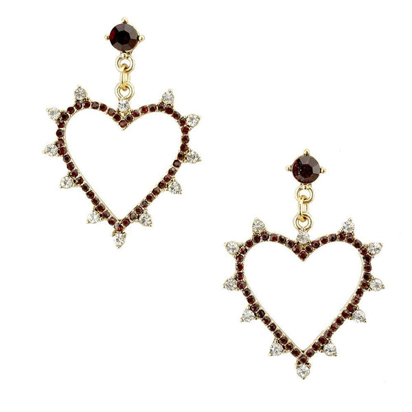 Rhinestone Heart Drop Earrings, Red, 1-1/2-Inch