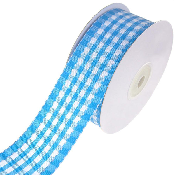 Colorful Saddle Stitched Gingham Ribbon, Blue, 1-1/2-Inch, 10-Yard