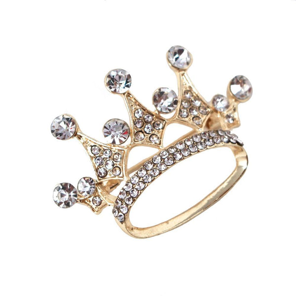 Rhinestone King Crown Brooch Pin, 1-3/4-Inch