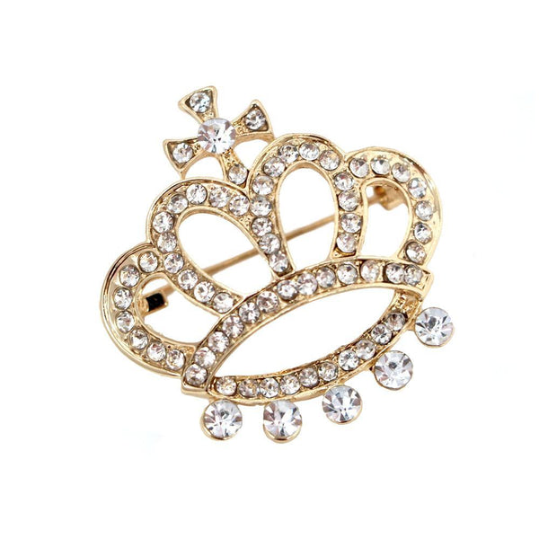 Rhinestone Queen Crown Brooch Pin, Gold, 1-1/2-Inch