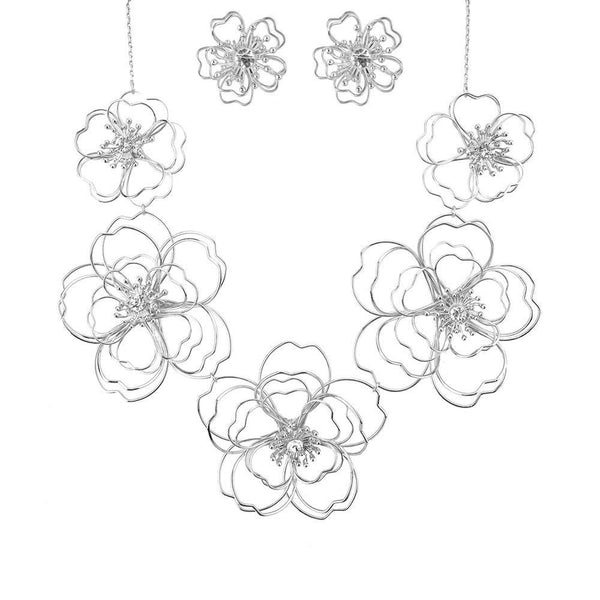 Cherry Blossom Necklace Set, Silver