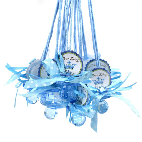 "Baby Pacifier ""Don't Say Baby"" Crown Favor Necklace, Blue, 24-Count"