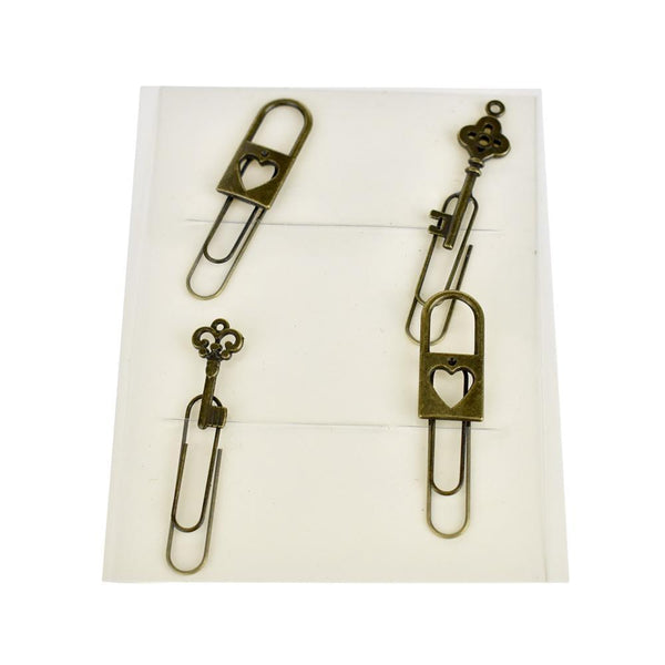 Vintage Style Locket & Key Paper Clips, Bronze, 4-Piece