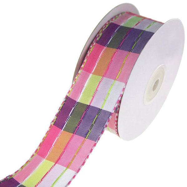 Colorful Stitched Line Plaid Ribbon, Pink, 1-1/2-Inch, 10-Yard