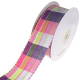 Colorful Stitched Line Plaid Ribbon, 1-1/2-Inch, 10-Yard