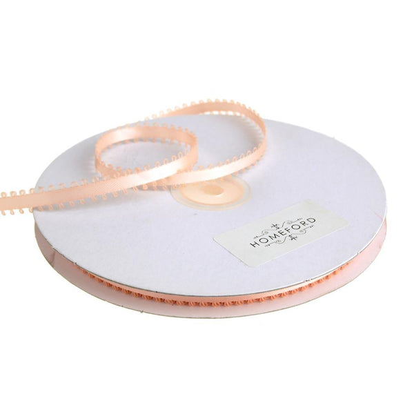 Picot-edge Double Faced Satin Ribbon, 3/16-Inch, 50 Yards, Light Peach
