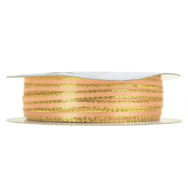 Double Faced Gold Trim Satin Ribbon, Peach, 1/8-Inch, 50-Yard