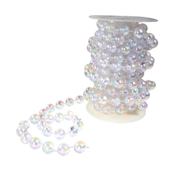 Round Plastic Pearl Bead Ribbon Spool, Iridescent, 14mm, 5-Yard