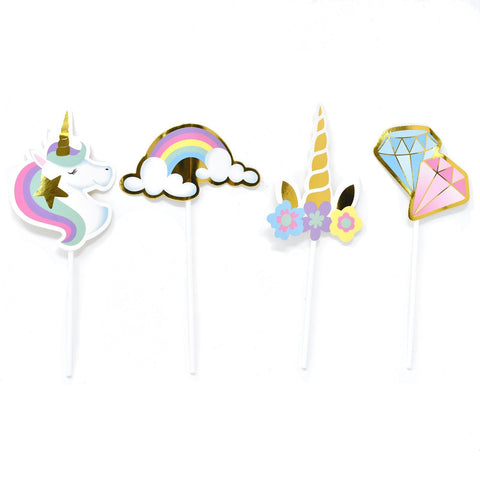 Rainbow Unicorn Theme Cupcake Toppers, 8-1/4-Inch, 12-Count