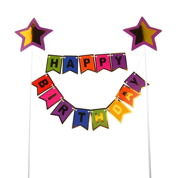 Happy Birthday Cake Topper Banner, 11-1/2-Inch