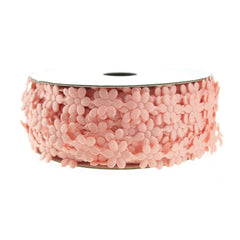 Polyester Flower Garland Ribbon, 3/8-Inch, 25-Yard, Peach