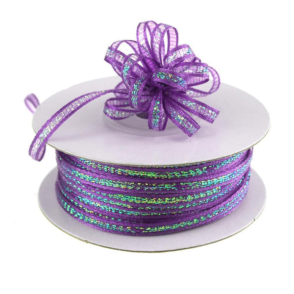 Iridescent Pull Bow Christmas Ribbon, 1/8-Inch, 50 Yards, Purple