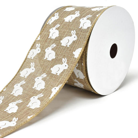 Soft Canvas Bunny Wired Printed Ribbon, 2-1/2-Inch, 10-Yard, Natural