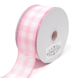 Colorful Gingham Checkered Linen Wired Ribbon, 10 Yards