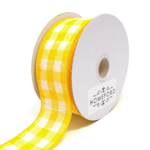 Colorful Gingham Checkered Linen Wired Ribbon, Yellow, 1-1/2-Inch, 10 Yards