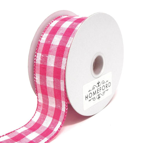 Colorful Gingham Checkered Linen Wired Ribbon, Fuchsia, 1-1/2-Inch, 10 Yards